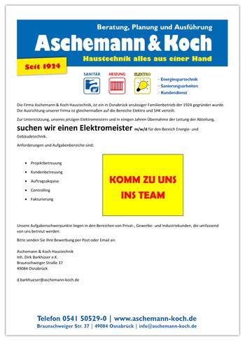 Stellenangebot Elektromeister Osnabrück