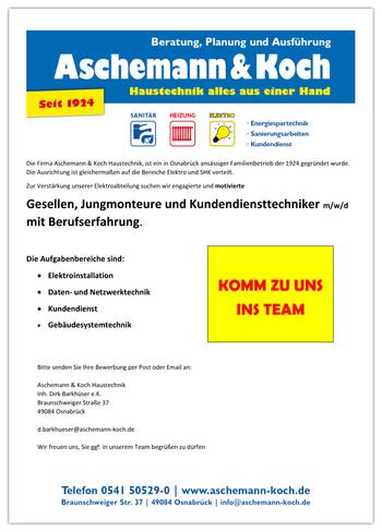 Stellenangebot Gesellen Elektrotechnik Osnabrück